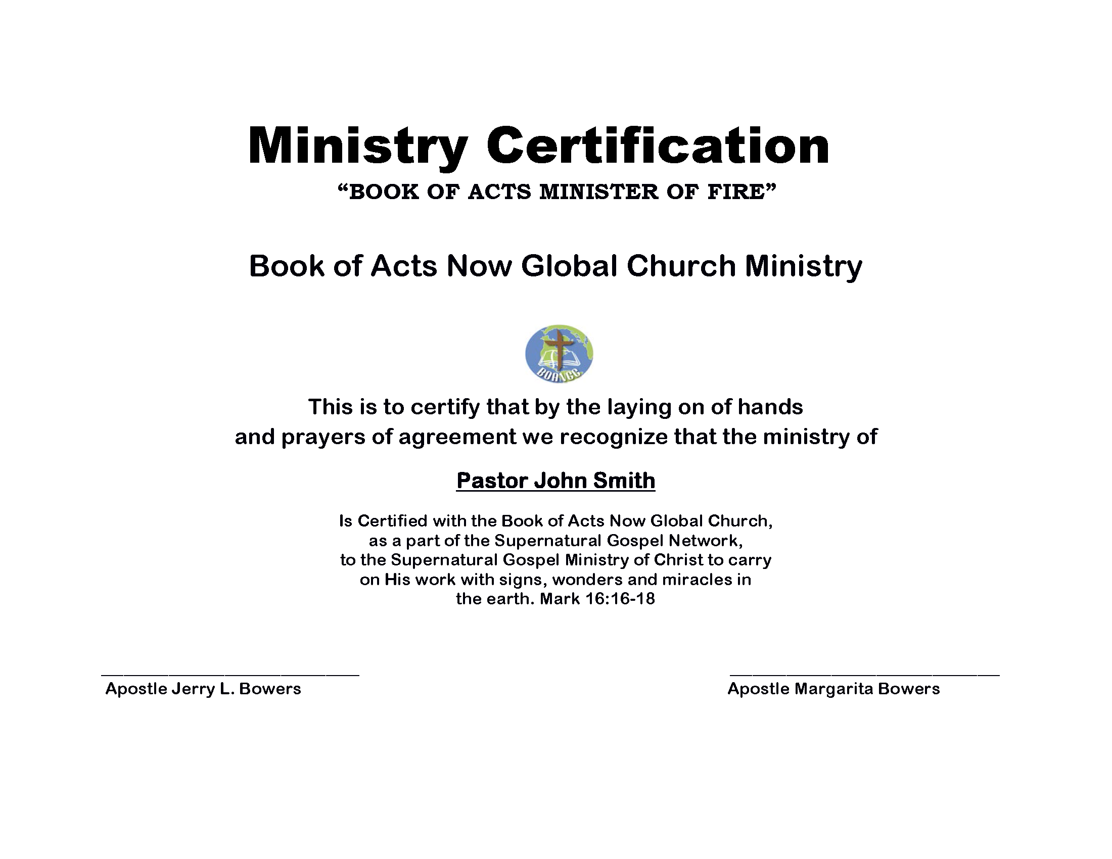 Ministry Affiliation – Book of Acts Now Global Church